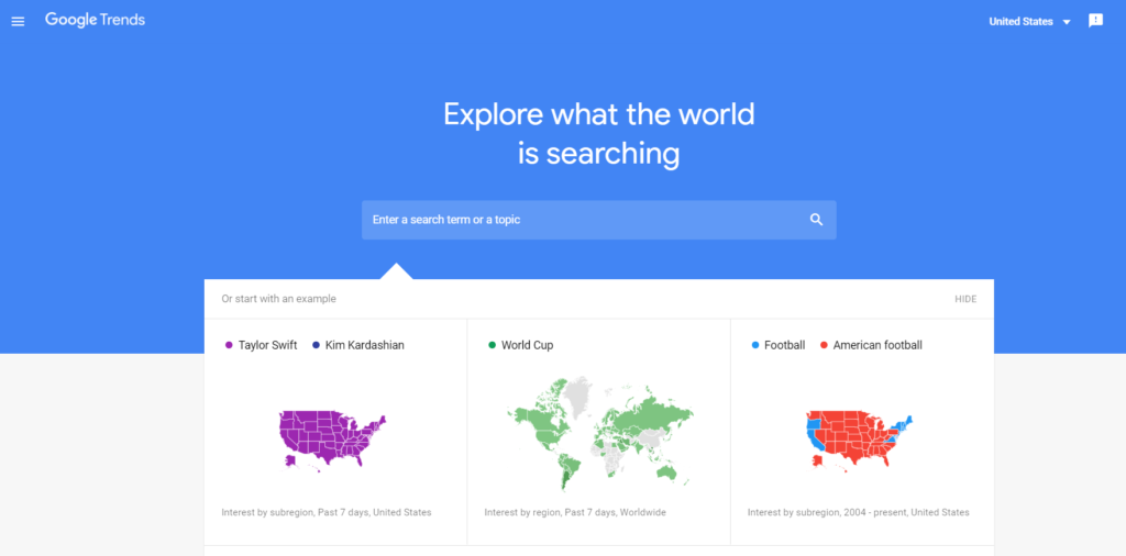 The Google Trends home screen