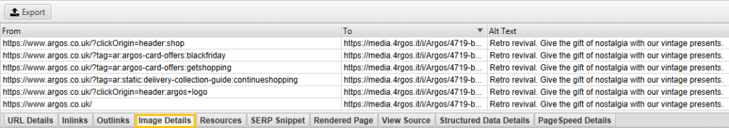 The 'Image Details' tab with the 'Alt Text' column