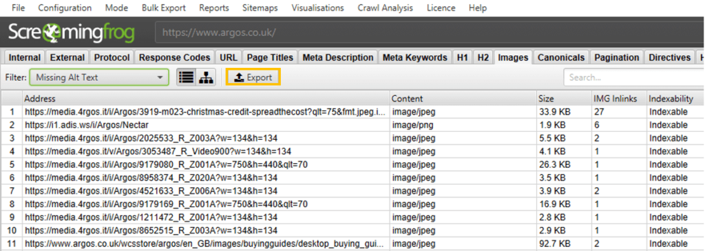 Exporting images with missing alt text into Excel with Screaming Frog