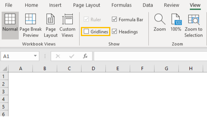 The option where you can remove gridlines in Excel