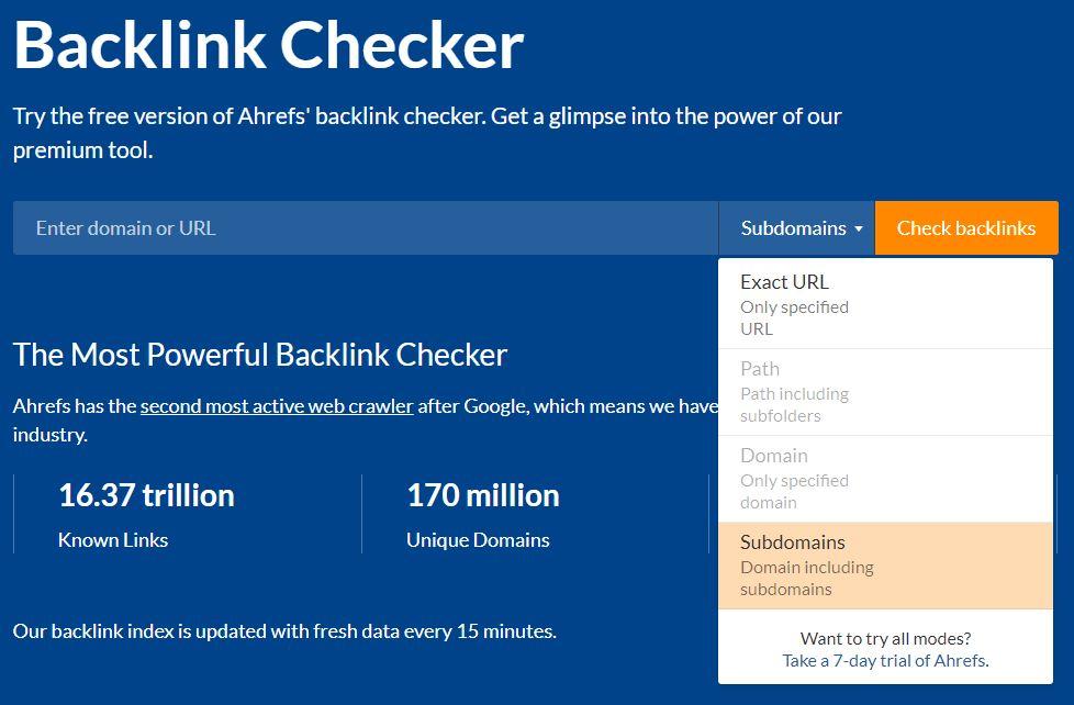 ahrefs free backlink checker