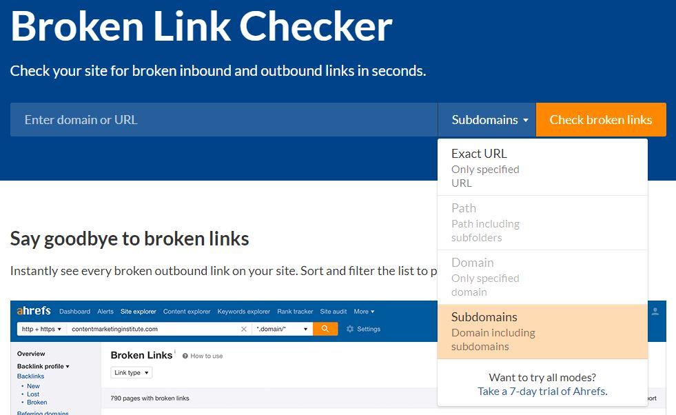 ahrefs free broken link checker