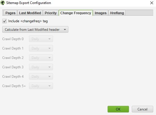 Screaming Frog XML sitemap export configuration change frequency tab