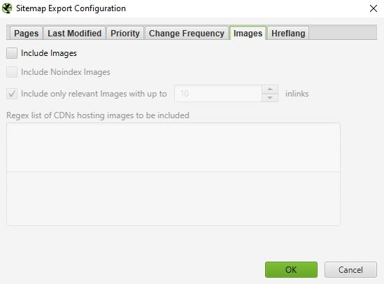 Screaming Frog XML sitemap export configuration images tab