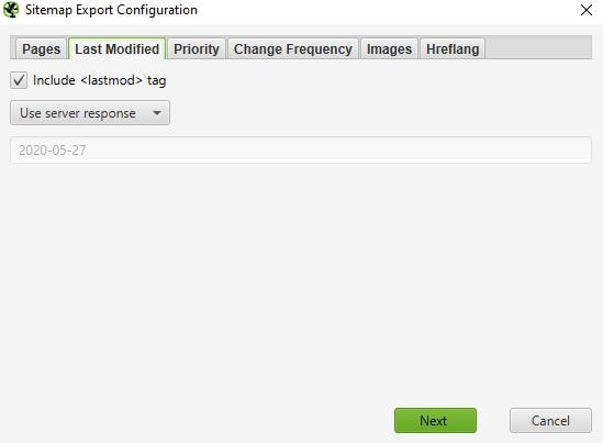 Screaming Frog XML sitemap export configuration last modified tab