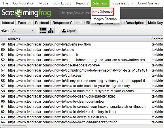 Screaming Frog XML Sitemap generator